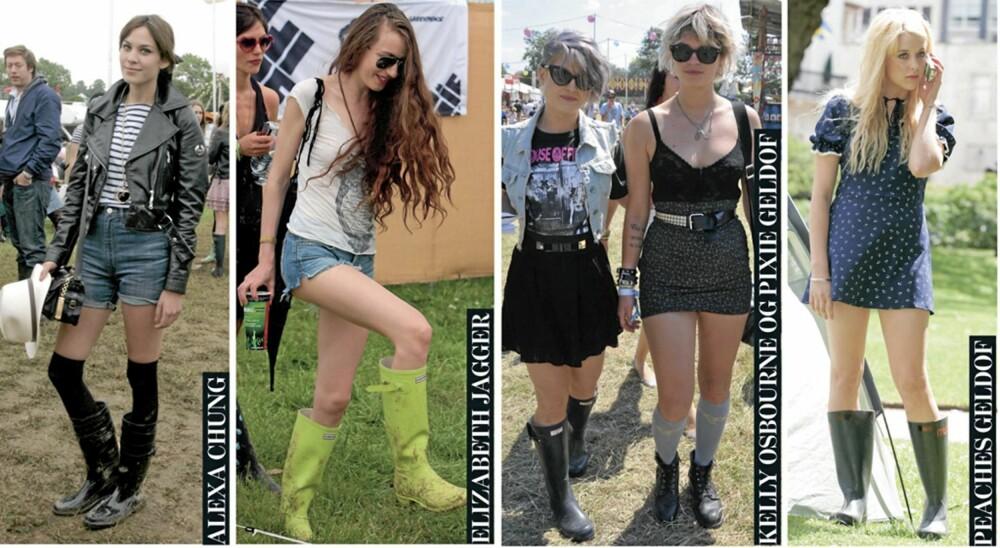KJENDIS-STØVLER: Alexa Chung, Elizabeth Jagger, Pixie Geldof, Kelly Osbourne og Peaches Geldof er praktisk anlagt, og sverger til gummistøvler på festival.
