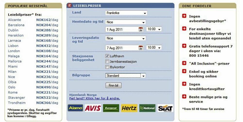 FORMIDLERE: Det kan lønne seg å bestille leiebil via formidlere som samarbeider med flere utleiefirmaer. Foto: Skjermdropp Auto Europe