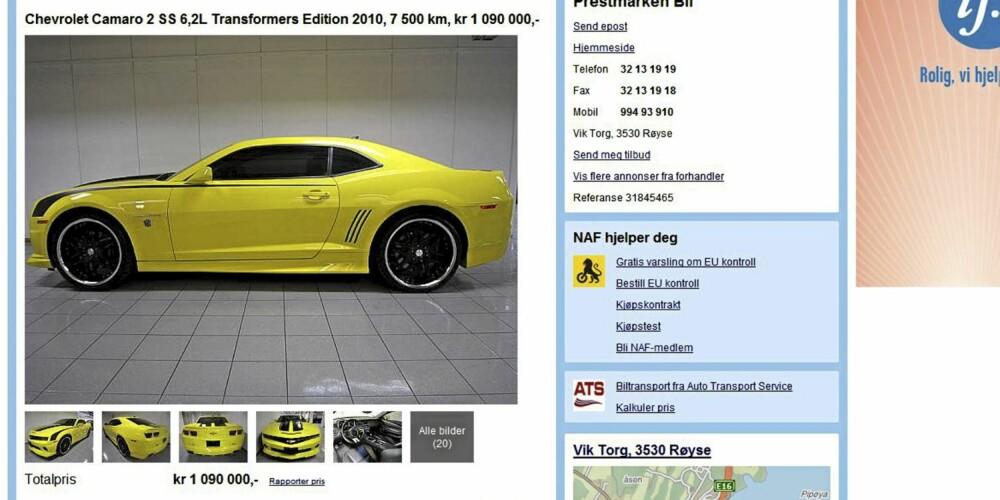 DYR: En Camaro 2010-modell til drøye millionen. Foto: Skjermdropp Finn.no