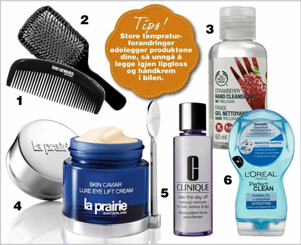 VIKTIG PLEIE: Husk også å rengjøre hårbørstene og kammene dine. 1. Shu Umura Paddle Brush, kr 450,- 2. Shu Uemura Geisha Comb, kr 200,- 1. Hand Cleanse Gel Strawberry fra The Body Shop rengjør hendene dine på 1-2-3, kr 49,- 4. På La Prairie Skin Caviar Luxe Eye Lift sin øyekrem står spatelen klar til bruk på krukken, kr 2395,- 5. Clinique Take The Day Off Makeup Remover fjerner effektivt all makeup, kr 180,- 6. L'Oréal Perfect Clean renser huden og fjerner sminke, kr 79,-