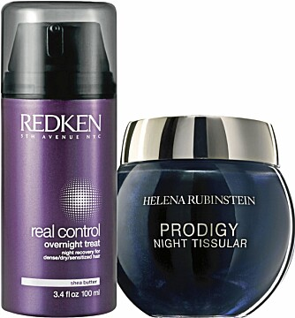 MED HUD OG HÅR: Redken overnight treat, kr 338,-  Night Tissular Visuel fra Helena Rubinstein, kr 1735,-