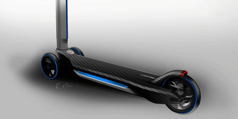 GIMMICK: To elektriske sparkesykler kan brukes når bilen må parkeres. FOTO: BMW.
