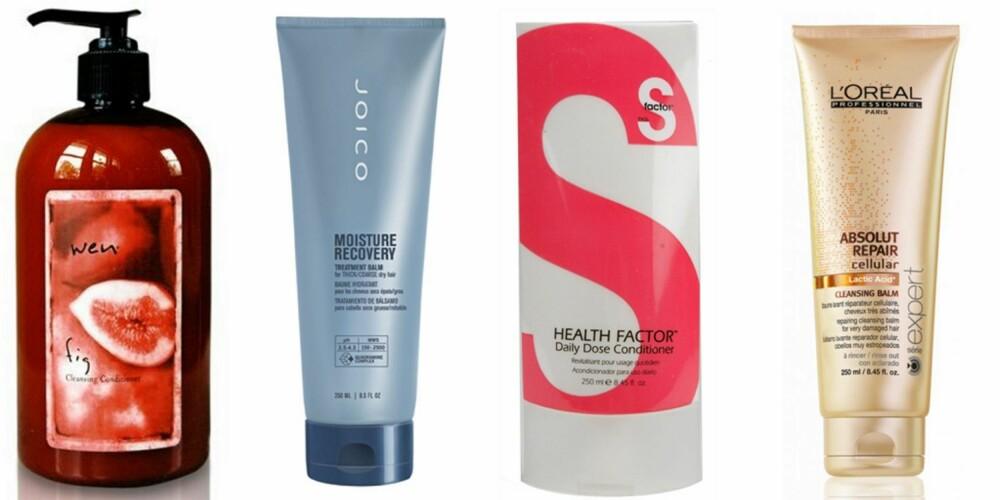 BALSAM UTEN SILIKON: Wen er et relativt nytt produkt i Norge og er en type rense-balsam som også lover å gi deg vakrere og fyldigere hår - uten å måtte skumme håret med shampo. Produktet inneholder ikke sulfater, og skal visstnok, ifølge reklamen, erstatte både shampo, balsam og innpakning. Joico Moisture Recovery Treatment Balm er et eksempel på en silikonfri balsam. Det er også Tigi S- Factor sin Health Factor Daily Dose Condtioner. Kosmetikkgiganten L'Oréal lanserte også nylig sin Professionnel Absolut Repair Cellular Cleansing Balm, en mild rense-balsam som skal anvendes av og til som et alternativ til sjampo og hårmaske. Den inneholder silikoner, så anbefales ikke som ren rensebalsam alene, men mellom hårvasker for tørt hår som trenger ekstra næring.