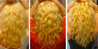 FORVANDLING: Slik er håret etter 1 dag, 10 dager og 17 dager med bruk av balsammetoden.