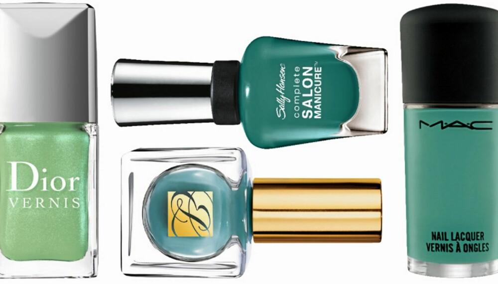 GRØNT ER SKJØNT: Grønt og aqua-farger er en stor trend både på mote- og neglelakkfronten denne våren.