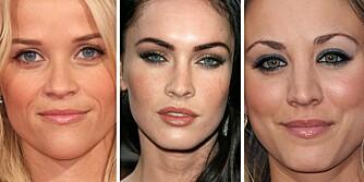 ØYENBRYN: Ulikt utseende, ulike bryn. Viktigs er at de er pent formet og har riktig farge. Her ser vi Reese Witherspoon, Megan Fox og Kayley Cuoco.