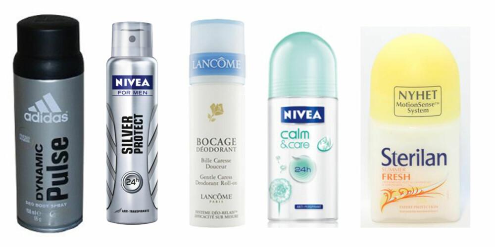 VERSTINGLISTA: Her er noen av deodorantene som kom på Grønn Hverdags verstingliste. Adidas Dynamic Pulse, kr 79 (Cubus), Nivea Silver Protect, kr 59,90 (Cubus) , Lancome Bocage deodorant, kr 179 (blivakker.no), Nivea Calm and Care deodorant, kr 39,90 (Vita) og Sterilan Summer Fresh deodorant, kr 39 (Rimi).