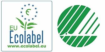 SE ETTER DISSE: Vil du være føre var, er disse to symbolene noe å se etter. EU-blomsten og Svanen.