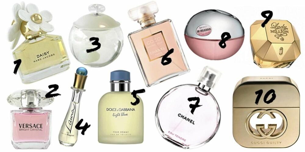 """DE MEST SOLGTE KVINNEDUFTENE: 1: """"Daisy"""" fra Marc Jacobs 2: """"Bright Crystal"""" fra Versace, 3: """"Noa"""" fra Cacharel, 4: """"Laura"""" fra Laura Biagiotti, 5: """"Light Blue"""" fra Dolce & Gabbana, 6: """"Chanel Mademoselle"""" fra Chanel, 7: """"Chance Eau Tendre """" fra Chanel, 8: """"Fresh Blossom"""" fra Donna Karan, 9: """"Lady Million"""" fra Paco Rabanne, 10: """"Guilty"""" fra Gucci."""