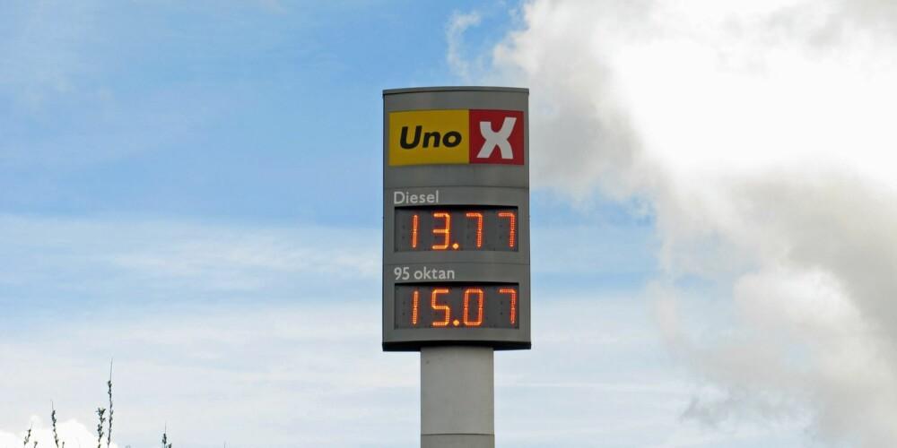 MIKRO-KONKURRANSE: Stasjoner som Statoil og Uno-X på Storo holder øye med hverandre, og har derfor stort sett samme literpris på drivstoff. Foto: Geir Svardal
