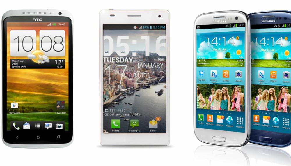 MUSKLER: Dette er de tre sterkeste mobilene du finner i dag.