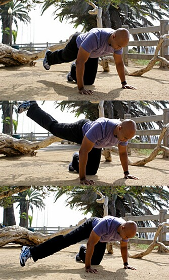 HAT OG ELSK: - Denne øvelsen trener rumpe, lår og coremuskulatur. Hilary Swank hater den, men elsker den også fordi den funker, sier Franklin.