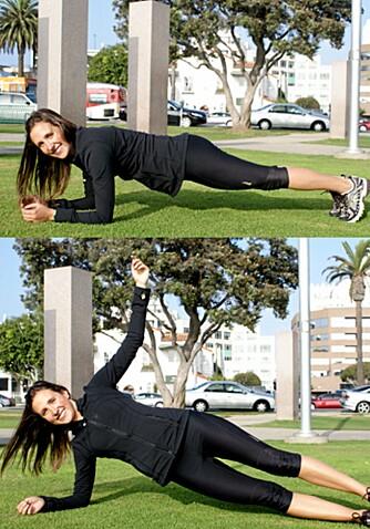 PLANKEN: Annie Holden har et hemmelig supertriks, nemlig planken i intervaller. Det øverste bildet viser vanlig planke, det nederst viser sideplanke.