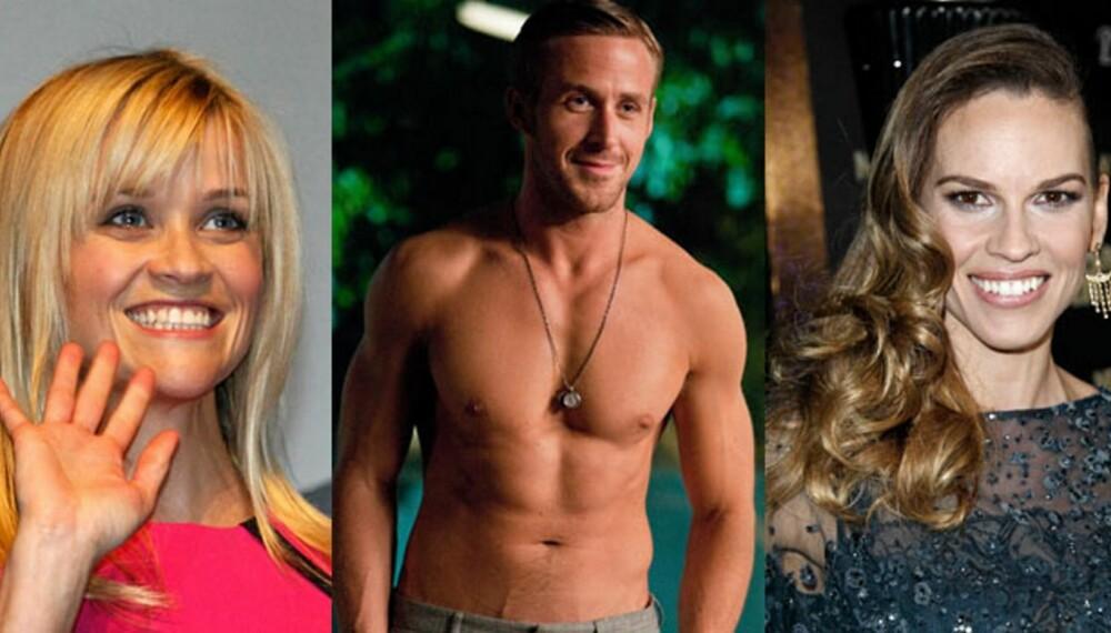 FÅR HJELP: Reese Witherspoon, Ryan Gosling og Hillary Swank er noen av dem som får hjelp av Hollywoodtrenerne til å holde seg i form.