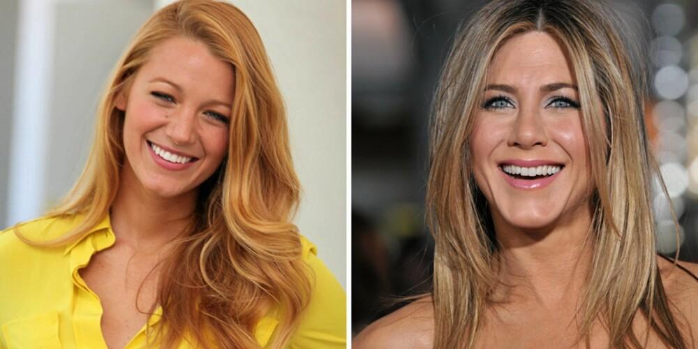 LANGT OG GRADERT: Blake Lively og Jennifer Aniston har to av de mest kjente lange hårmankene i Hollywood. Begge har gradert håret, slik at det faller fint og rammer inn ansiktet.