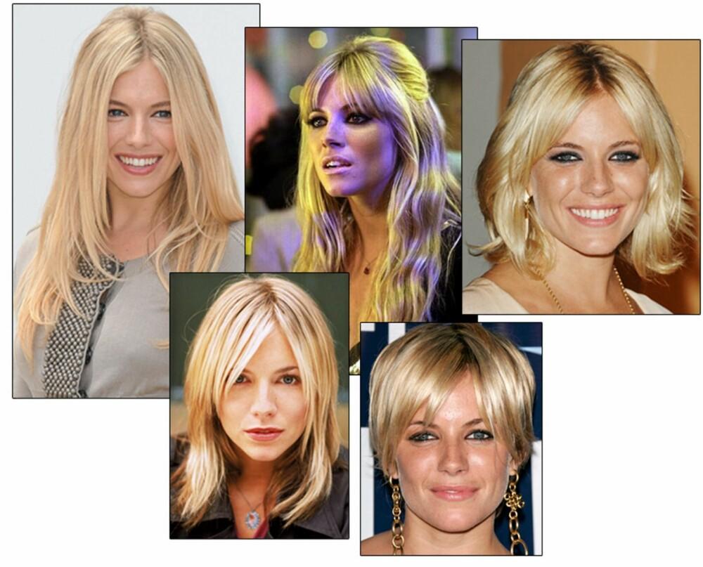 KLER ALT: Sienna Miller har vært gjennom hele smørbrødlista, og er et eksempel på at man kan kle mange ulike frisyrer.