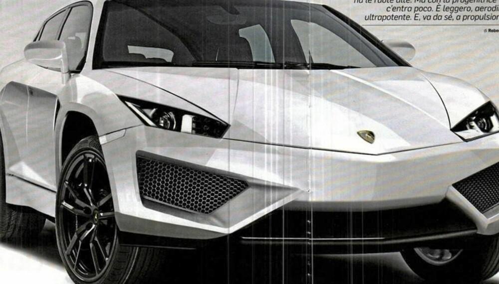 SUV: Denne illustrasjonen i det italienske QuattroRuote satte fart i ryktene om en Lambo-SUV. Faksimile: QuattroRuote.