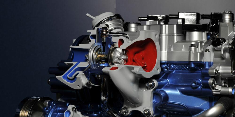 MER KRAFT: Her er turboen som gjør det mulig å hente ut mye krefter fra en liten motor.