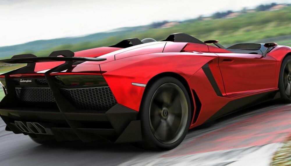 J FOR JEEZ: Lamborghini er ikke kjent for å lage pregløse biler til praktisk bruk. Med vanvittige Aventador J har de strukket strikken ytterligere. Foto: Lamborghini