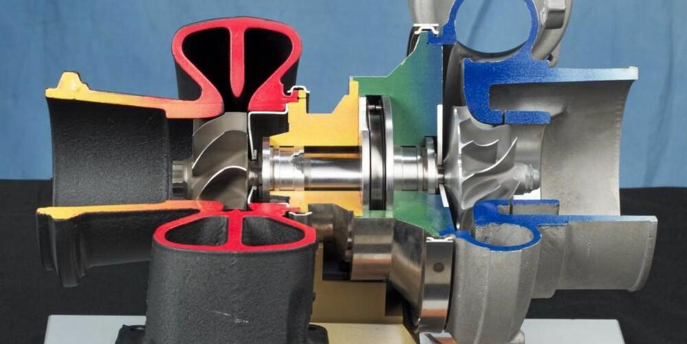 TURBO: Her er en turbo som har blitt delt i to for å vise de forskjellige komponentene. Eksosen driver turbinen på venstre side, som igjen driver turbinen på høyre side. Rødt og gult indikerer varm eksos, mens blått og hvitt viser kald, frisk luft.