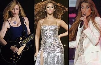 Madonna, Beyoncé og Celine Dion