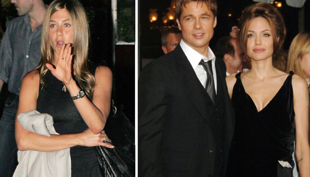 Jennifer Aniston, Brad Pitt og Angelina Jolie