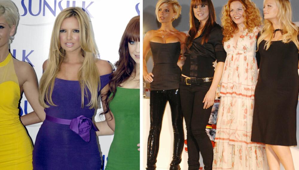 Popbandene Girls Aloud og Spice Girls.
