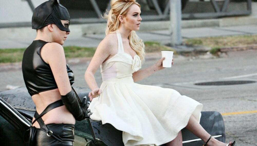 Lindsay Lohan og Catwoman på reklameinnspilling