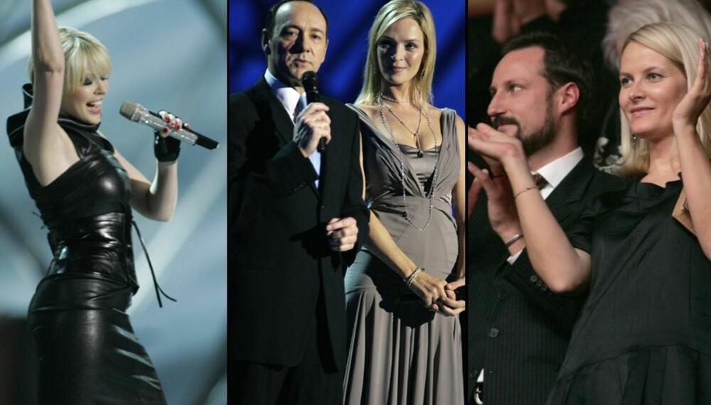 Nobelkonserten i Oslo Spektrum: Kylie Minogue, Kevin Spacey og Uma Thurman og kronprinas Haakon og kronprinsesse Mette-Marit