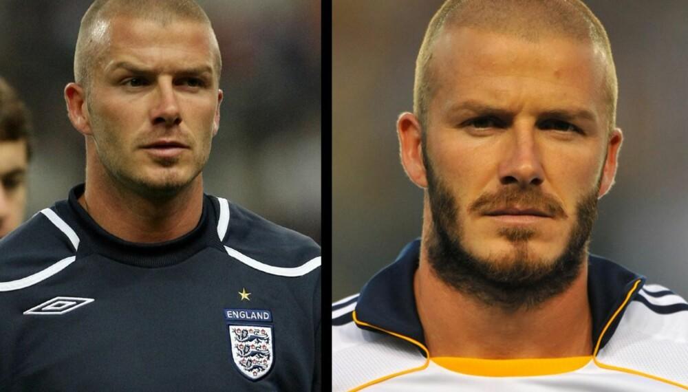 David Beckham, med og uten skjegg