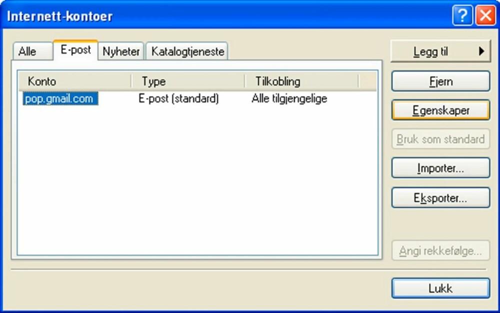 49aaae6e Klikk deretter OK, lukk boksen for Internett-kontoer og returner til  hovedvinduet i Outlook Express.