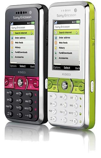 K660i fra Sony Ericsson får du i limegrønn og rødrosa.