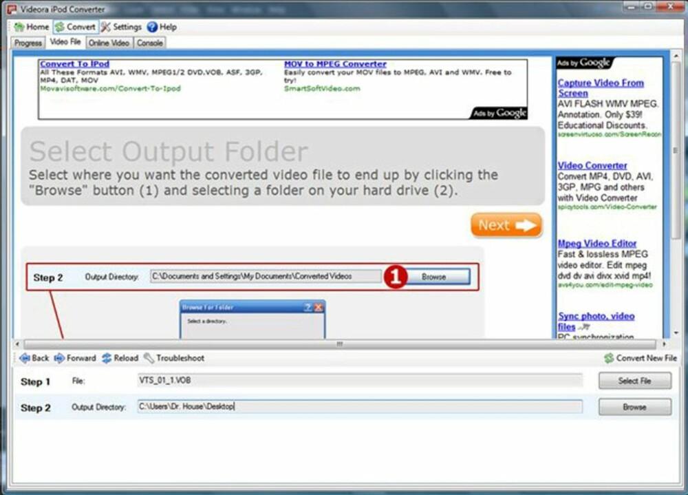 Steg 3: Nederst på skjermen skal du bla deg fram til den mappen som du har rippet DVD-filmen til med DVD Decrypt. Programmet vil automatisk velge VOB-filen i mappen. Velg så hvor du ønsker at den endelige konverterte videofilen skal ligge.