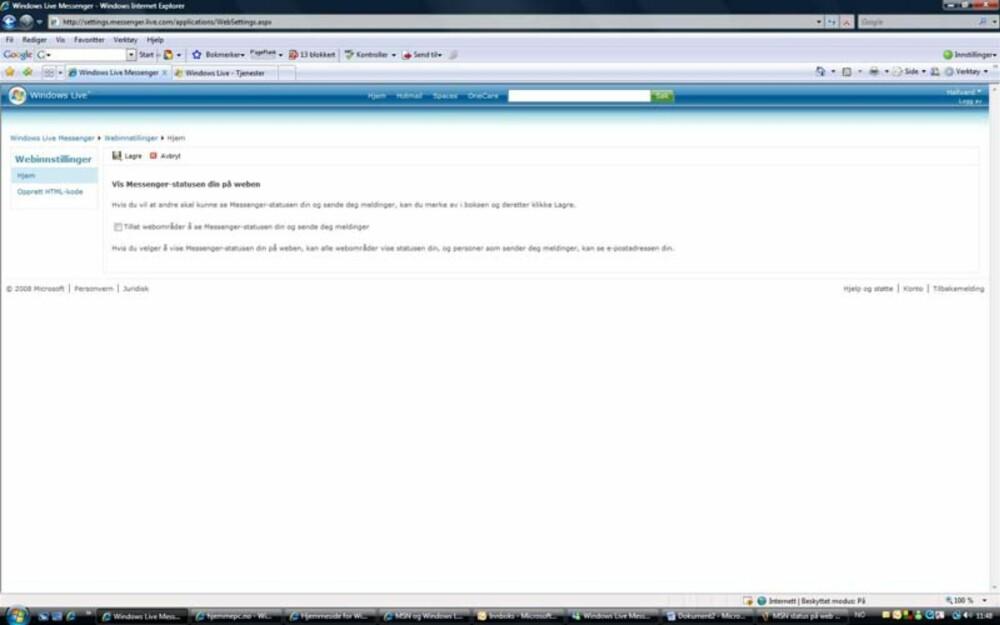 I trinn tre må du godkjenne at nettsider kan vise din MSN-status - om du er av eller på nettet.