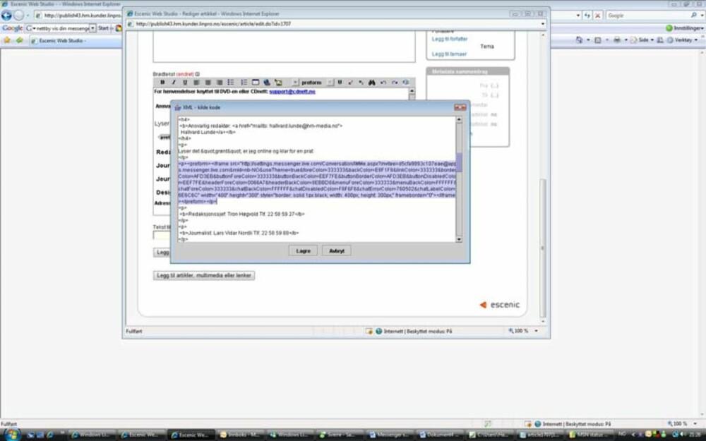 KODE: Slik ser det ut når vi limer HTML-koden inn i vårt publiseringssystem.