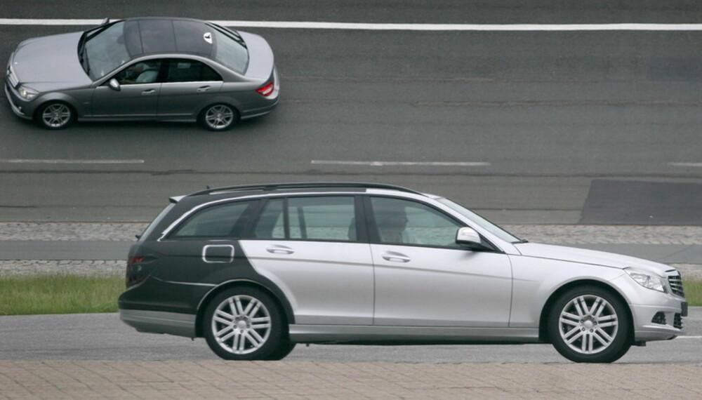 Stasjonsvogna testes nå sammen med sedanen, slik at Mercedes-Benz-teknikerene kan finpusse kjøreegenskapene. Den skal jo ikke være veldig annerledes å kjøre.(Foto: Automedia)
