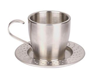 Kaffekoppen er naturligvis også laget i rustfritt stål, og skåla som en hullborret bremseskive.
