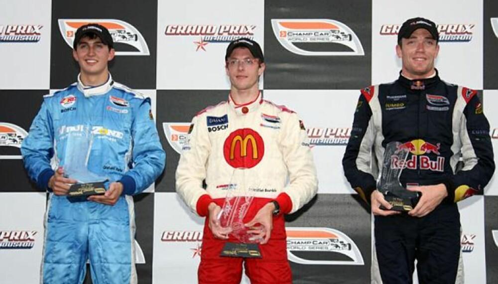 Graham Rahal (t.v.) ble nummer to i Champ Car-løpet i Houston bak Sébastien Bourdais (midten), men foran Robert Dornboos. (Foto: Sutton)
