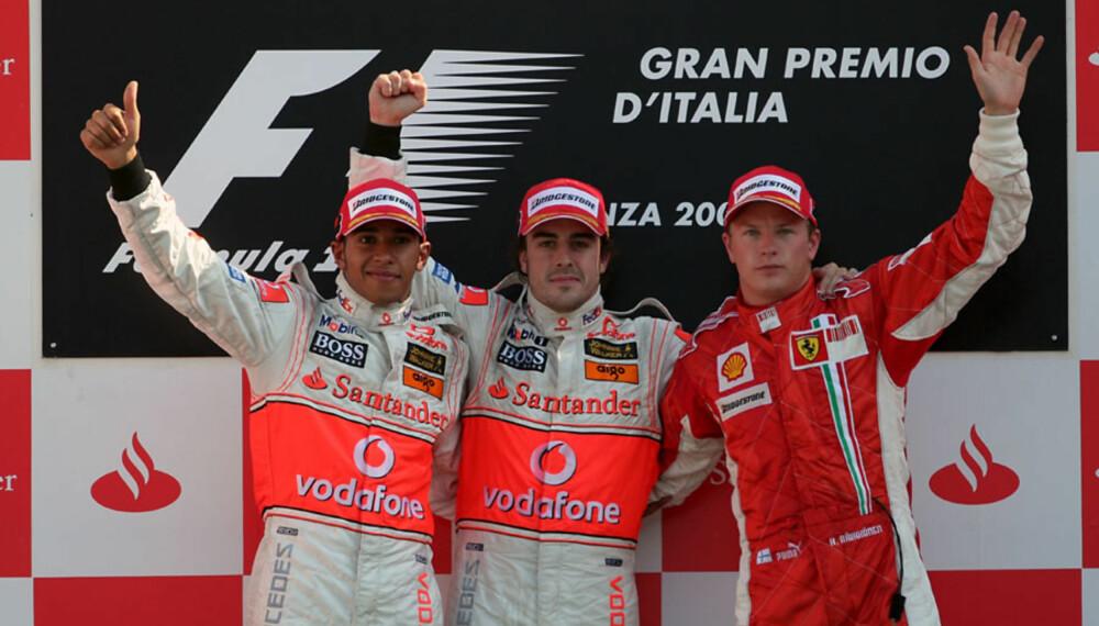 Lewis Hamilton, Fernando Alonso og Kimi Räikkönen kan alle bli verdensmester i Formel 1. (Foto: Sutton)