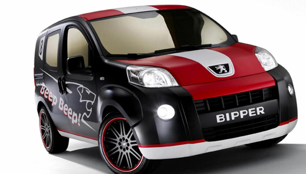 Det er litt søkt med en bil som dette, men vi håper Peugeot vil selge Bipper med dette utseendet. En skikkelig fargeklatt!