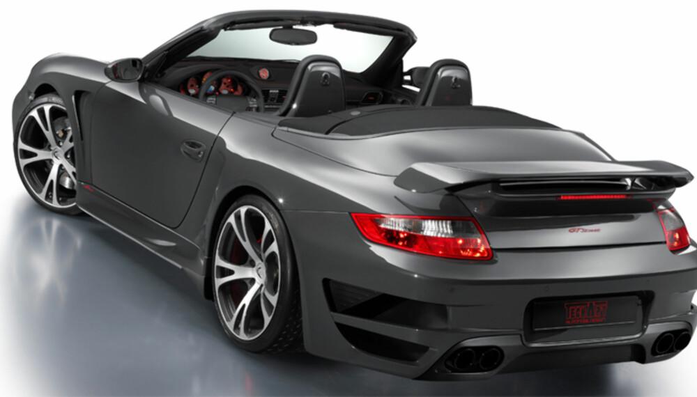 Ingen skal være i tvil om at dette er noe annet enn en helt ordinær 911 Turbo Cab. Techarts stylingsett er mildt sagt markant.