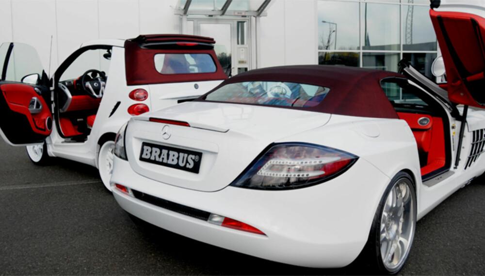 Likhetstrekkene mellom en SLR og en Smart er kanskje ikke voldsomt store. Men Brabus bringer dem noen skritt nærmere hverandre, og tilbyr et litt kreativt pakketilbud.