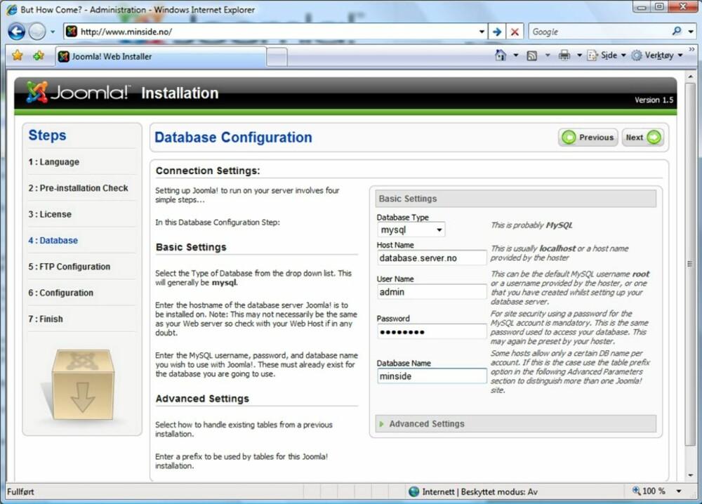 Skritt 2: Gå så inn på din nettadresse, for eksempel www.minside.no. Her kommer du inn i en konfigurasjonsveiviser med 7 enkle skritt for å sette opp Joomla!. I et av de første skjermbildene utføres en kontroll av systemet ditt. Det anbefales at du følger anbefalingene fra denne kontrollen, noe som innebærer at du ikke skal ha noen ¿røde¿ kryss i dette første oppstartsbilde. I tillegg må du vite noe teknisk informasjon om din database og ftp. Dette er informasjon du finner via administrasjonsgrensesnittet når du logger inn på din ¿server¿ hos din domenevert. Du finner også en god guide til denne delen av installeringen her: http://www.proisp.no/installering_joomla_webhotell/. Denne er laget for brukere som har sin webside hos Pro ISP, men er generell nok til at du får god hjelp. Du vil bli spurt om du vil installere testdata, og det anbefales dersom man ikke har lekt med Joomla! før.