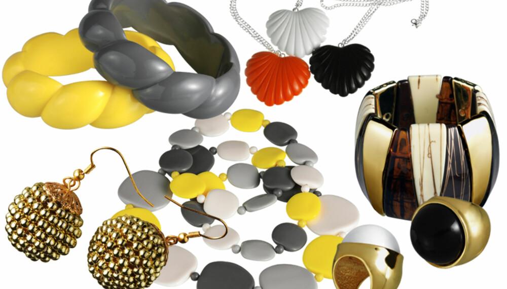 Øredobber (kr. 59,50), grått eller gult armbånd (kr. 59,50), gult, grått og hvitt smykke i plast (kr. 119), smykke med hvitt, oransje eller svart hjerte (kr. 89,50), svart eller hvit ring (kr. 99,50) og bredt armbånd i ulike trefarger (kr. 89,50). Alt fra Glitters vårkolleksjon. (Foto: Glitter)