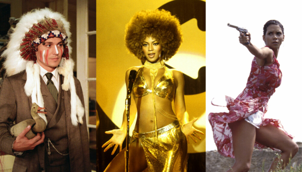 """På film er jobben så mye enklere: Fra venstre ser vi Johnny Depp som forfatter i """"Finding Neverland"""", Beyonce som detektiv i """"Austin Powers in Goldmember"""" og Halle Berry som spesialagent i """"Die Another Day"""". (Foto: Filmweb)"""