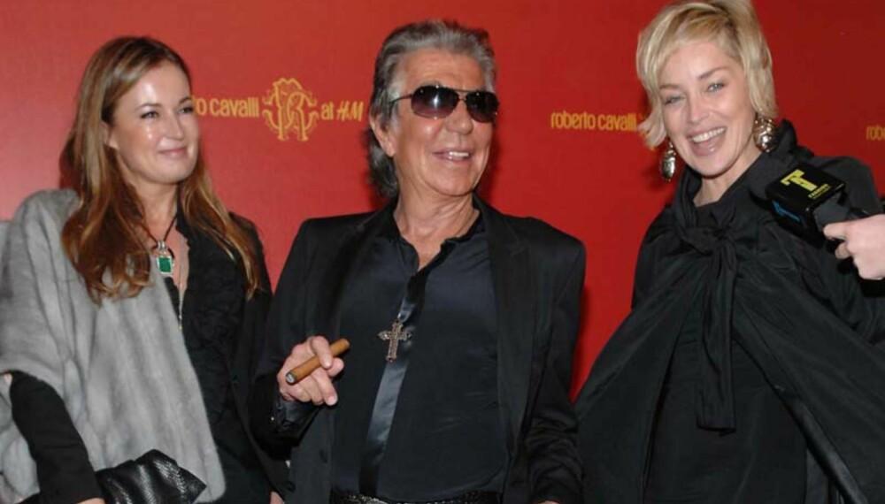 Robert Cavalli sammen med sin kone Eva og Sharon Stone. (Alle foto: H&M)