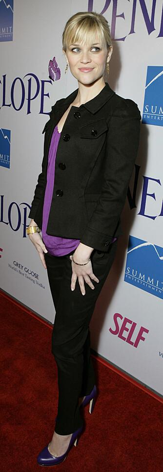 Reese Witherspoon trives bedre i bukse og pumps, enn glamorøse tilstelninger. (Foto: WireImage/All Over)