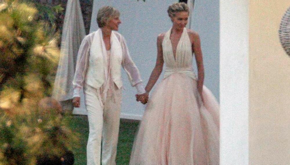 I HAGEN: Ellen Degeneres og Portia de Rossi ga hverandre sitt ja i hagen i Los Angeles
