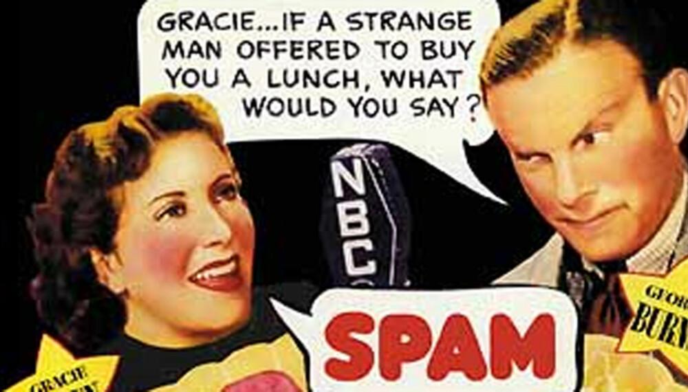 PEST OG PLAGE: Begrepet spam om uønsket e-post skal være inspirert av en Monthy Python-sketsj fra 1970, der denne kjøttfarsen har en sentral rolle.  Bildet er av en amerikansk Spam-reklame fra 1960-tallet.