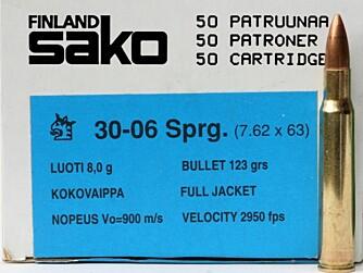 Sako Range er Sakos patronserie til trening eller småviltjakt. Sako Range er ladd med 8 g spiss helmantel i 308 og 30-06. (Foto: Jørund Lien)
